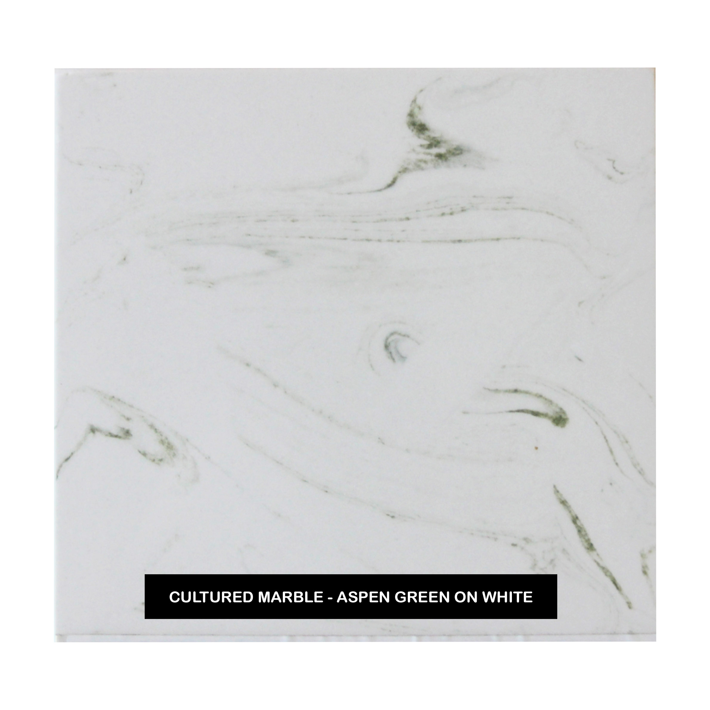 Cultured Marble - Aspen Green on White